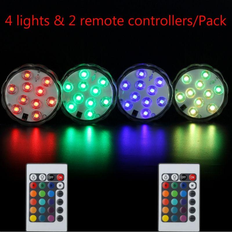 4tk / partii Kaugkindel veekindel sukeldatav LED valgusbaas kristallklaasile, vaasidele, shishale, veekogule