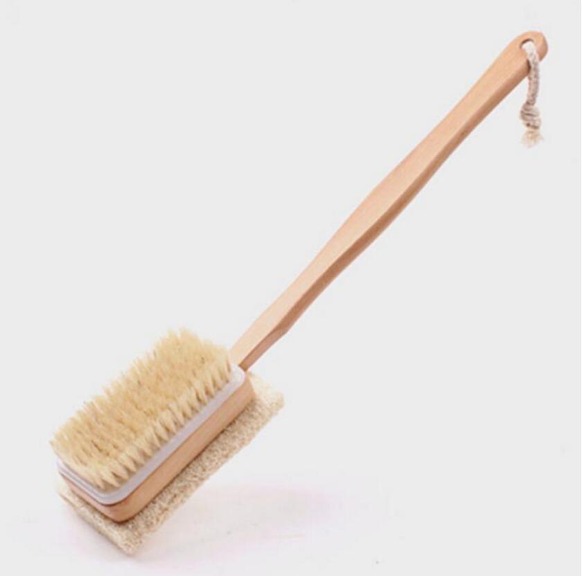 nuovo legno naturale doccia bagno corpo spazzola massager setole morbide loofah spugna bagno doccia spa scrubber