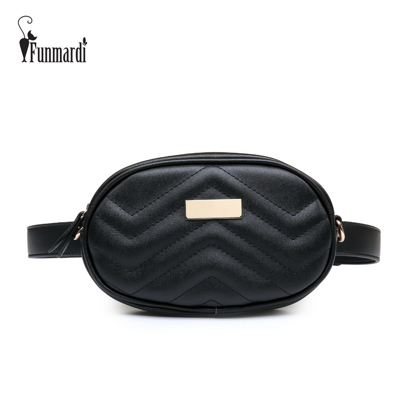 FUNMARDI Luxury PU Leather Women Waist Bags New Fashion Waist Packs Brand Women Shoulder Bags Trendy Design Chain Bags WLHB1744