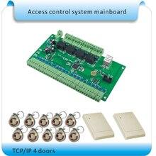 Envío libre 125 KHZ RFID 4 Puertas Panel de Control de Acceso sistemas de Control de Acceso inteligente de $ Number Maneras de Software Libre + 4 lector