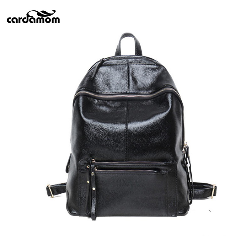 Cardamom Ladies Backpack Real Soft Genuine Leather Woman Bag Solid Colors Zipper Cell Phone Pocket Fashion Students School Bags cardamom clutches women fashion solid colors shape of hobos zipper soft cow leather casual small clutches cell phone pocket