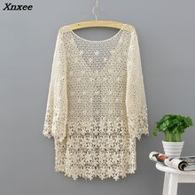 Hollow Out Vintage Crochet Kimono 2018 Women Beach Cardigans Tops Lace Boho Blouse Summer Tops Sexy Casual Lose Blouse Xnxee