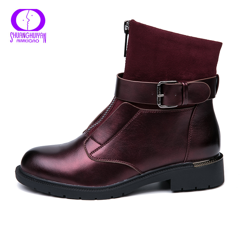 553bdc212bb3 AIMEIGAO New Zipper Ankle Boots Women Soft PU Leather Boots Low Heel Short  Plush Boots Front Zip Autumn Black Red Women Shoes -in Ankle Boots from  Shoes on ...