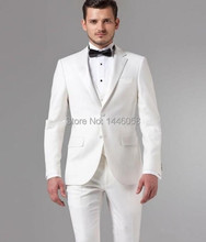 New Design 2017 Slim Fit Mens Suits Italian White Jacket With Pants Wedding Suits For Men
