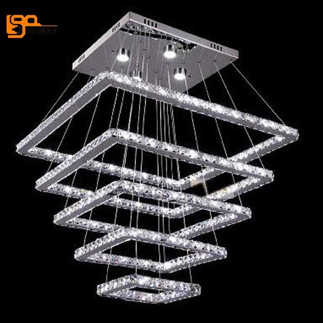 Nouveau design grand LED lustres en cristal 5 anneau lustres lampe