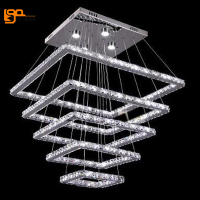 New Design Large LED Crystal Chandeliers 5 Ring Lustres Lamp Dinning Room Living Room Chandelier LED