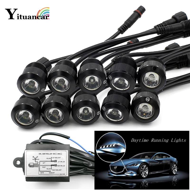 Yituancar 10Pcs/Set LED Car Styling Eagle Eye Daytime Running External Fog Lights DC12V White/Yellow Trun Signal Steering Lamp new arrival a pair 10w pure white 5630 3 smd led eagle eye lamp car back up daytime running fog light bulb 120lumen 18mm dc12v