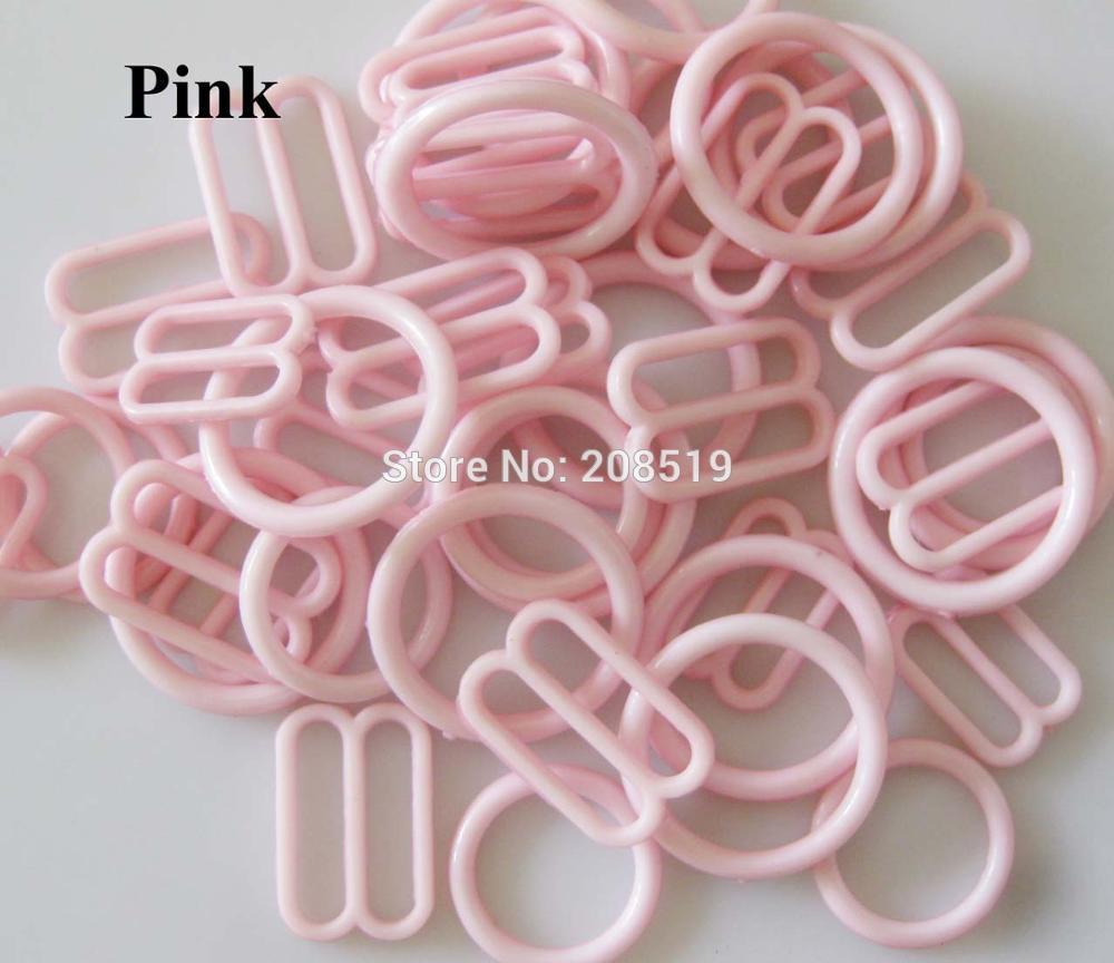 NBNLAE 100 шт. пряжки для бюстгальтера(50 шт. уплотнительное кольцо+ 50 шт. 8 слайдеров) красочные пластиковые пряжки нижнее бельё с пуговицами аксессуары - Цвет: pink as show