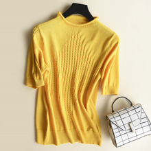 Korean Casual Knitted Sweater Women Autumn Pullovers Short Sleeve Thin Knit Women Sweater Plus Size XXL Crop Sweater
