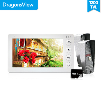 Dragonsview  7 1200TVL Security System Video Door Phone Intercom Doorbell Kit 2 Outdoor Station 1 White Monitor Record SD Card home security 7 color screen record video doorphone intercom 2 700tvl doorbell camera 1 white monitor 8g sd free shipping