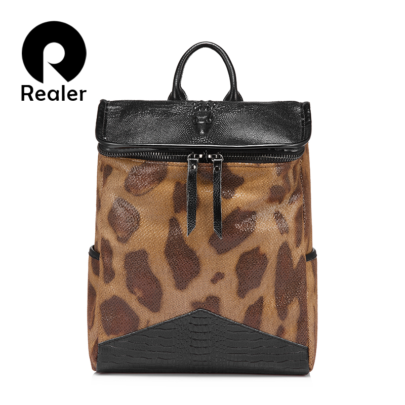 Realer Brand Backpack Women Leather Bag Fashion Crocodile Shoulder Bag Leisure High Quality Large Capacity Backpack School Bags