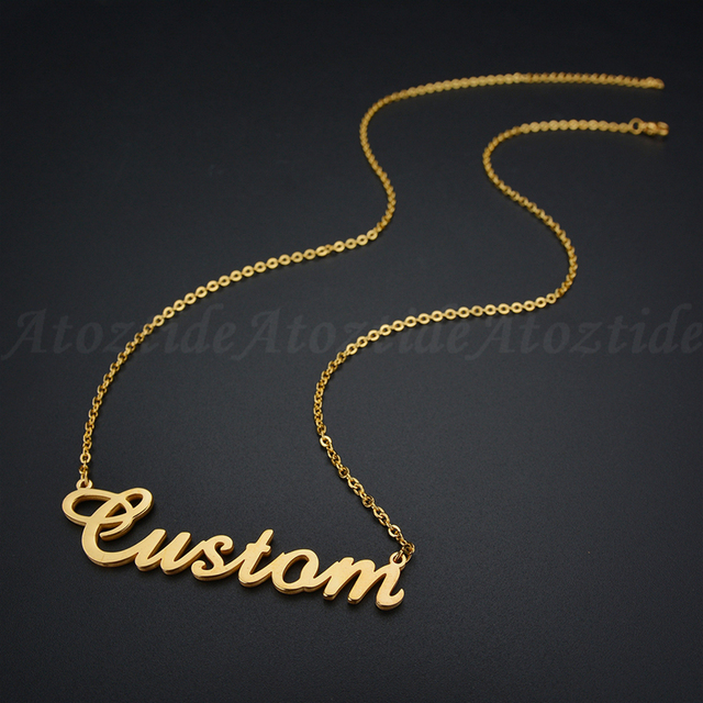 Atoztide Customized Fashion Stainless Steel Name Necklace Personalized Letter Gold Choker Necklace Pendant Nameplate Gift  2