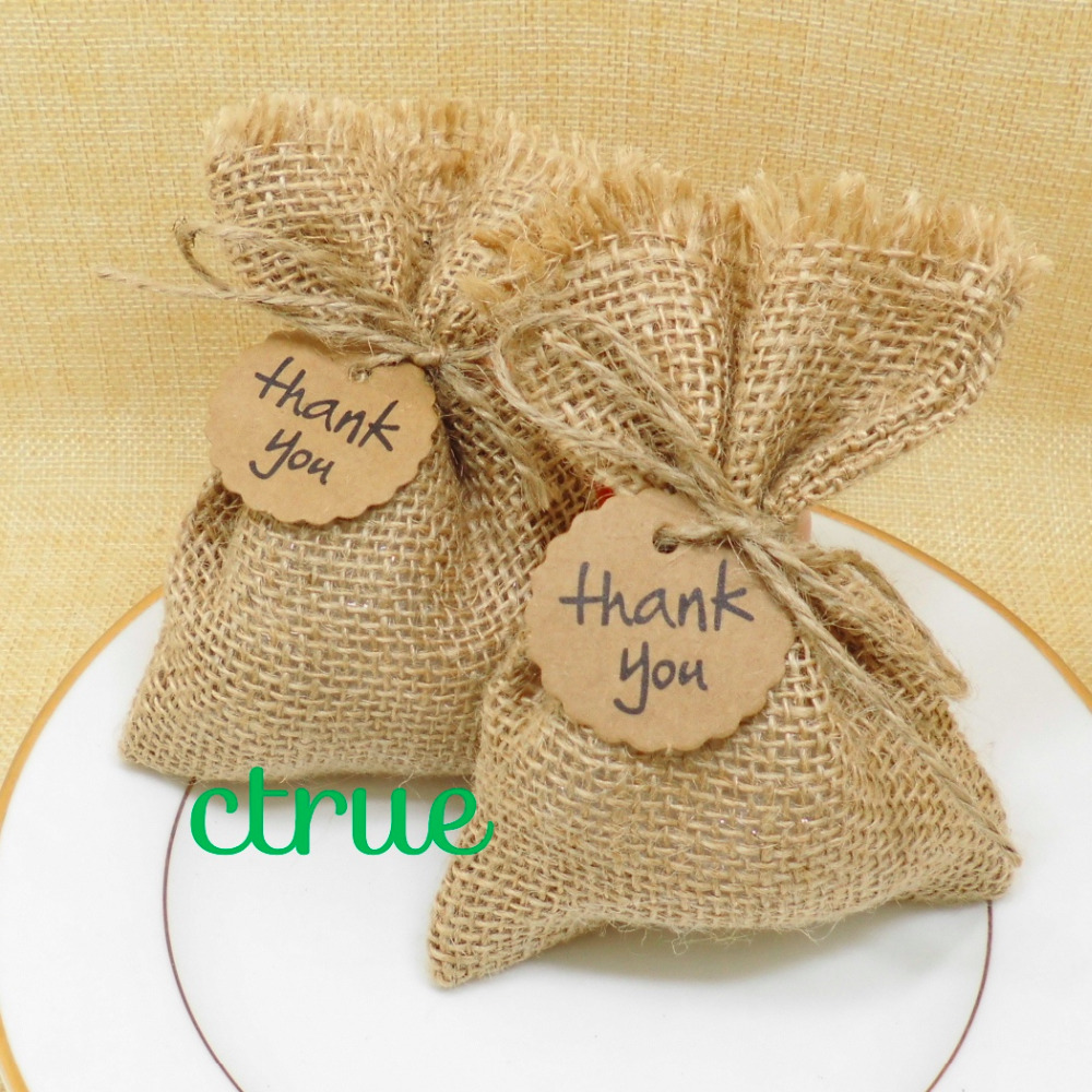 12PC Rustic Wedding Candy Bags Burlap Baby Shower Favor