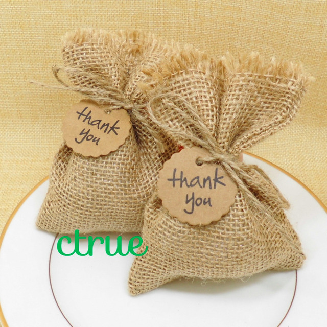 Baby Showers Gifts For Guests: 12PC Rustic Wedding Candy Bags Burlap Baby Shower Favor
