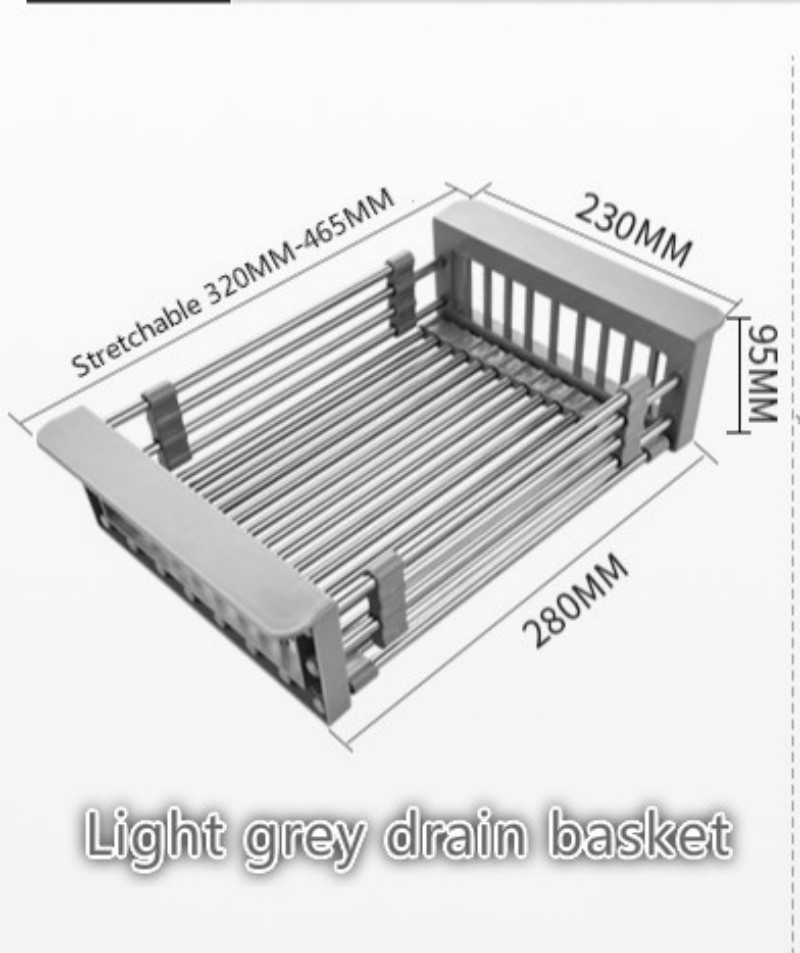 Kitchen sink drain rack drain basket stainless steel sink sink filter water basket sink rack retractable kitchen appliances