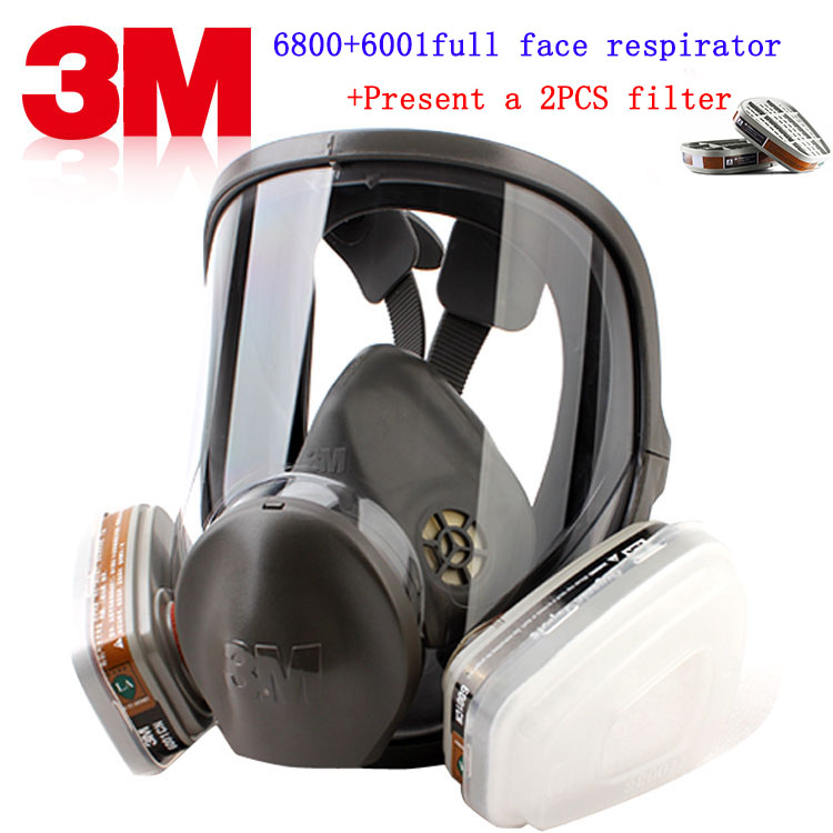 3M 6800+6001 respirator gas mask Brand protection 3M respirator mask against Organic gas steam Painting pesticide gas mask 9 in 1 suit gas mask half face respirator painting spraying for 3 m 7502 n95 6001cn dust gas mask respirator