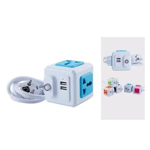 Image 3 - Smart Home PowerCube Socket EU / US / UK Plug 4 Socket 2 USB Port Adapter Power Outer Extension Adapter Universa 4 Jack Socket