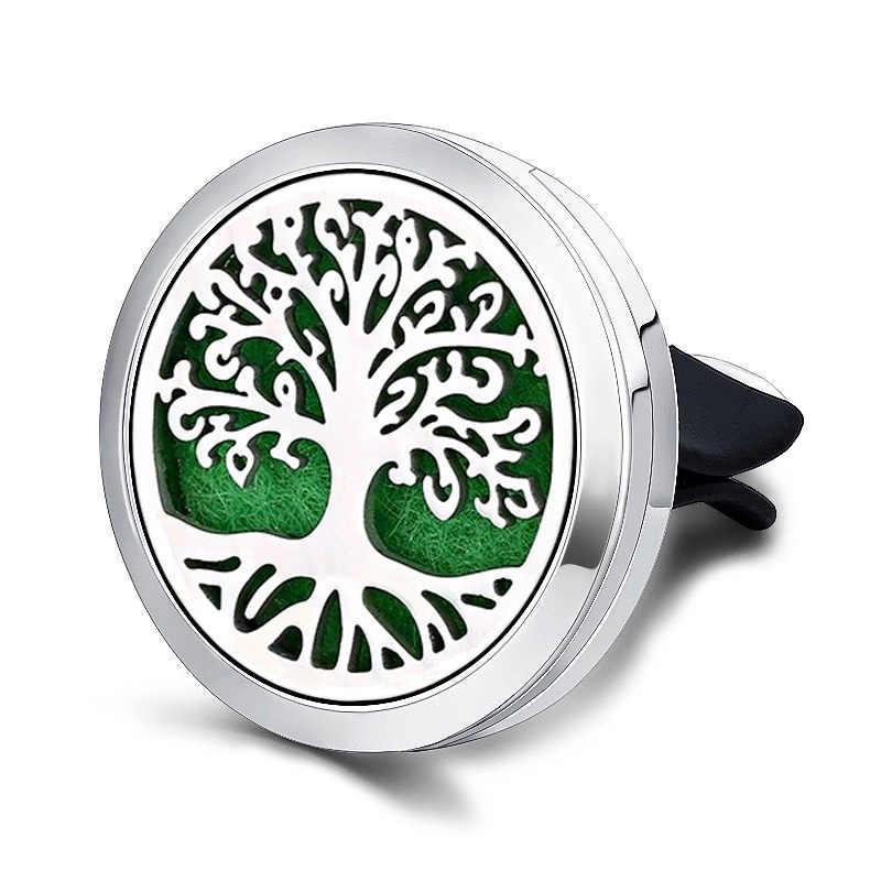 Tree of Life ปลอดภัยขับรถรถ Air Freshener คลิปน้ำหอม Diffuser Locket สแตนเลสวัสดุจี้เครื่องประดับส่ง 1 pcs mat