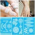 Branco de Flash Temporária Adesivo Henna Tatuagem Inspirado Lace Rosto Corpo Pintura A Tinta Moda Body Art Transferência de Água Decalques Adesivos