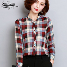 chiffon shirt slim body blouse 2017 spring new large size women's shirt printed fashion all-match girls' tops 921i 30