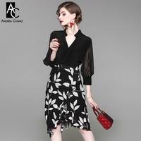 Mulher verão vestido lanterna vestido de manga com decote em v top preto branco padrão de folha de impressão inferior assimétrica do escritório na altura do joelho vestido de lengt