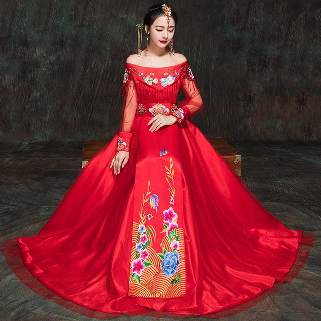 Chinese Wedding Dress.Us 127 33 2017 Bride Women Embroidery Traditional Chinese Wedding Dress Qipao Cheongsam Red Sexy Evening Dresses Tassel Vestidos Formales In