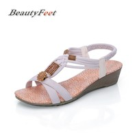 BeautyFeet 2018 New Bohemian Women Sandals Crystal Flat Heel Sandalias Rhinestone Chain Women Shoes Thong Flip