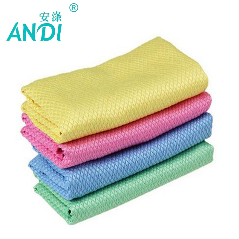 Andi 3 pieces scouring pad diamond grid solid absorbent for Glass cleaning towels