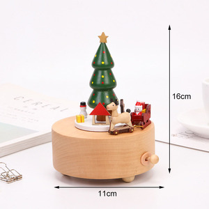 Image 2 - Креативная Музыкальная шкатулка на рождественскую елку, деревянные вращающиеся музыкальные боксы, ремесла, винтажное украшение, детские игрушки, подарок на праздник и день рождения