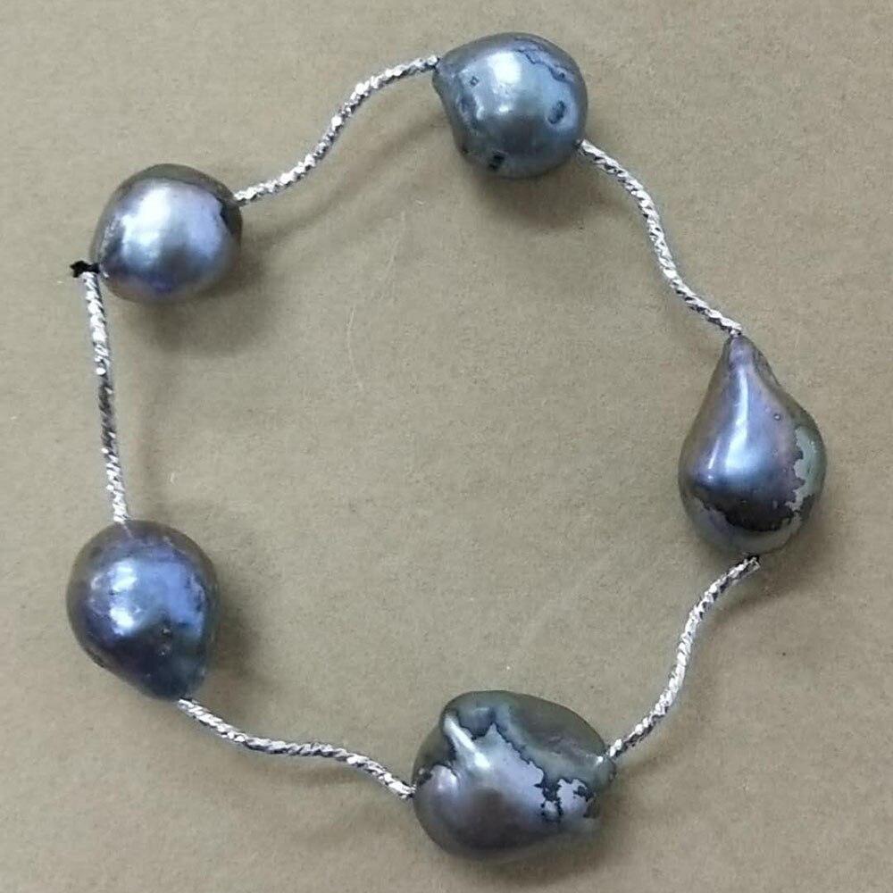 100% nature perle d'eau douce bracelet, grand noir perle baroque bracelet