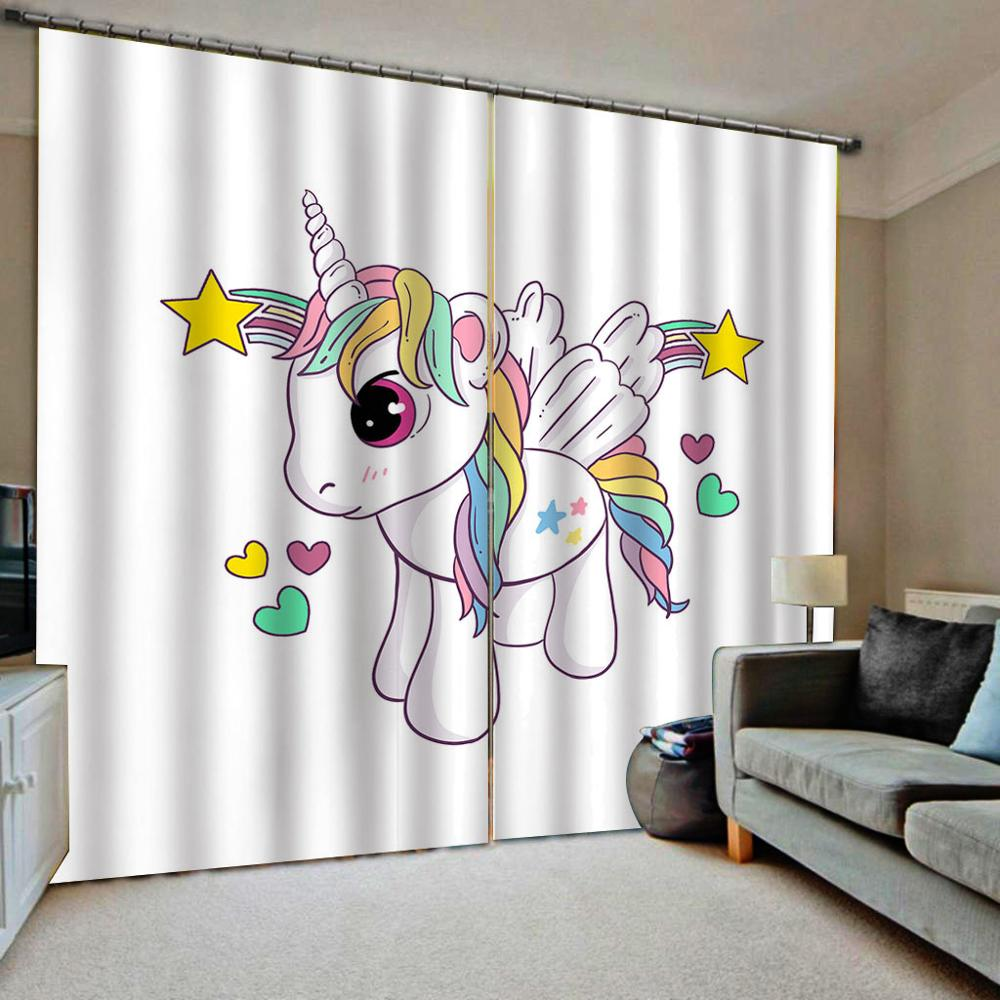 Unicorn  With Wings Door Windows Curtains Thin For Kids Living Room Bedroom Pink Decorative Kitchen Curtains Drapes Customized