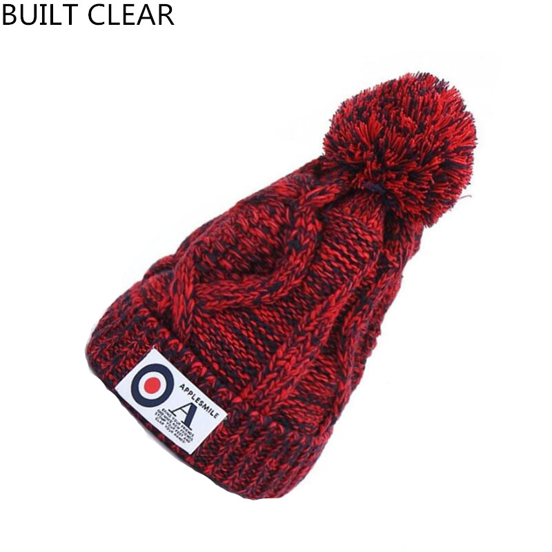 (BUILT CLEAR) hat female winter letter sticker set knitted wool cap Skullies casual simple ski hat woman winter hat beanie rwby letter hot sale wool beanie female winter hat men