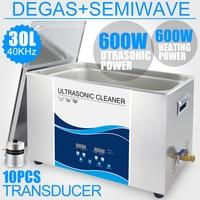Ультразвуковой очиститель Ванна 30L 600W Соник Регулируемая мощность Нагреватель дегазация Semi волна 40кГц Промышленное оборудование для ультр
