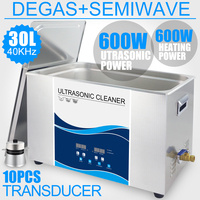 Ultrasonic Cleaner Bath 30L 600W Sonic Power Adjustable Heater Degas Semiwave 40khz Industrial Ultrasound Cleaning Equipment