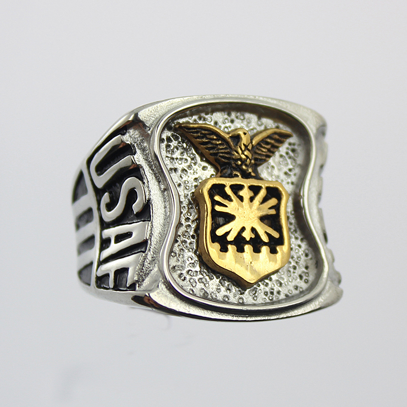 stainless steel gold and silver plated american air force signet military ring for men - Military Wedding Rings