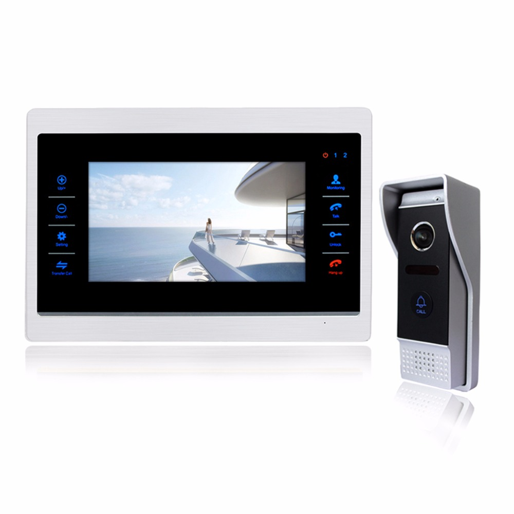 7 inch LCD Wired Video Intercom Doorbell Door Phone 1200TVL Security Camera Intercom System Support Security CCTV Camera F1412D