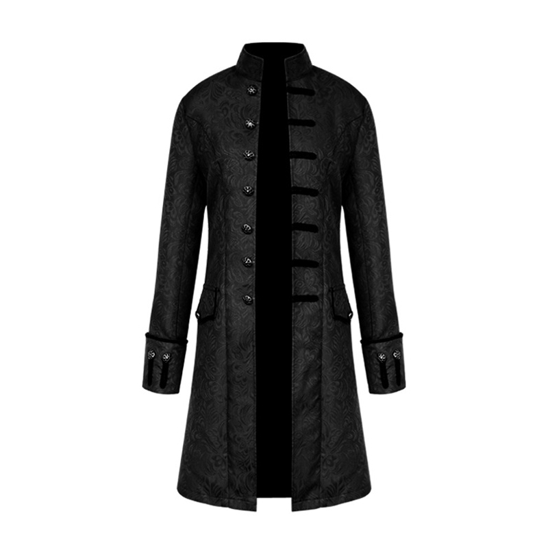 Gothic Jackets Coat Men Steampunk Military Vintage Male Single-Breasted Outerwear Stand-Collar