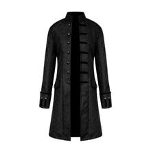 Для мужчин стимпанк Военная Винтаж Пальто Стенд воротник однобортный сплошной Готический куртки мужской с длинным рукавом тонкая одежда верхняя одежда