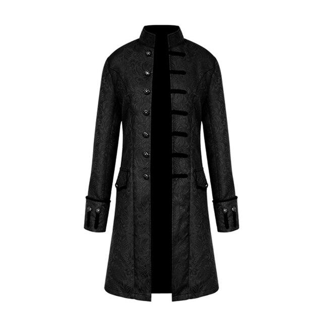 男性スチームパンク軍事ヴィンテージコートスタンド襟シングルブレスト固体ゴシックジャケット男性長袖スリム服の上着
