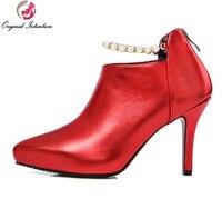 L'intention initiale Femmes Cheville Bottes Pointu Orteil Minces Talons Bottes de Haute Qualité Rouge Or Argent Gris Chaussures Femme Plus La Taille 4-16