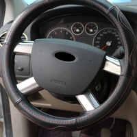 Carmilla Edelstahl Auto Lenkrad Dekoration Abdeckung Trim Aufkleber für Ford Focus 2 MK2 2006 2007 2008 2009 2010 2011