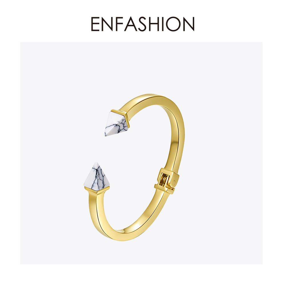 Enfashion Natural Stone Spike Cuff Bracelet Manchette Gold color Bangle Bracelet Women Stainless Steel Bracelets Bangles