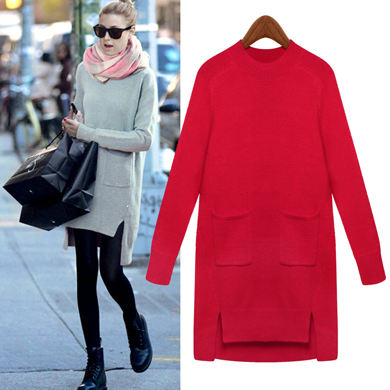 Women Sweaters And Pullover Red Vintage Baggy Sweater For