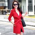 2015 nueva moda más tamaño capa de foso elegante delgado con cinturón gabardina otoño invierno para mujer calientes de la venta Outwear capa de la calle ocasional