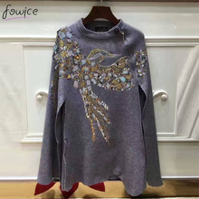2016 Newest Fashion Women Cloak Coat Bird Pattern Beading And Sequins Loose Black And Gray Woolen Female Cape