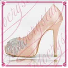 Aidocrystal Women Pumps Fashion high quality Lace Peep Toe High Heels Ladies Wedding Shoes Platform Party Shoes