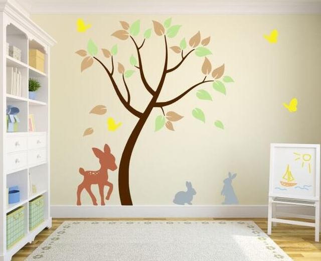 Decoratie Stickers Slaapkamer : Kinderkamer decoratie kleurrijke boom muurtattoo slaapkamer
