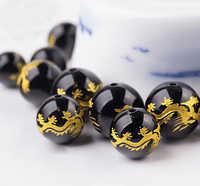1 chaîne 8mm 10mm 12mm perles de verre couleur noire avec dragon d'or sculpture perles de mode pour la fabrication de bijoux trouver des bracelets
