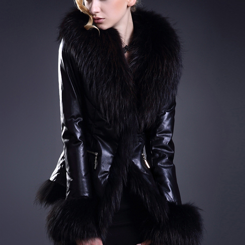 Black leather jacket with red fur
