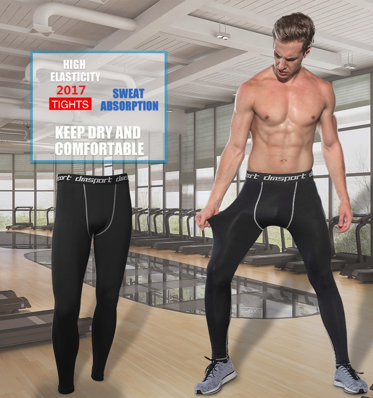 1Indoor bodybuilding compression dry fit t shirt breathable wicking long leggings Soccer training pants (2)